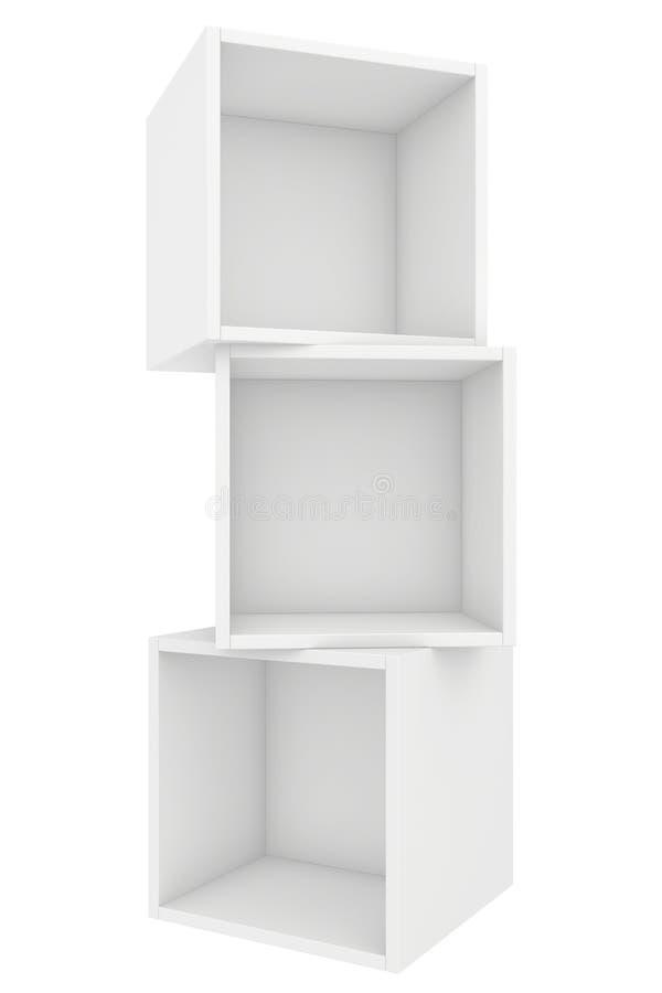 Nowożytny pusty półka na książki 3d odpłacają się na bielu ilustracja wektor