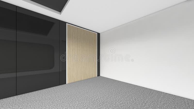 Nowożytny Pusty pokój, 3d odpłaca się wewnętrznego projekt, egzamin próbny w górę illustrati ilustracji
