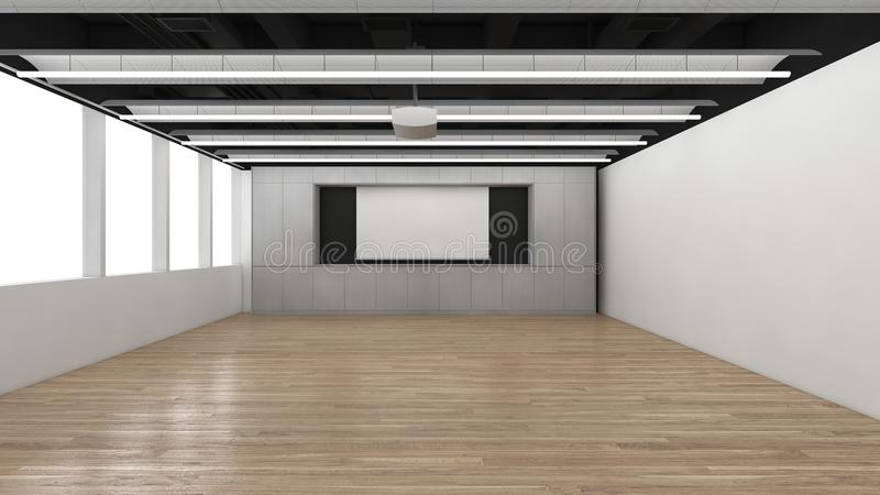 Nowożytny Pusty pokój, 3d odpłaca się wewnętrznego projekt, egzamin próbny w górę illustrati ilustracja wektor