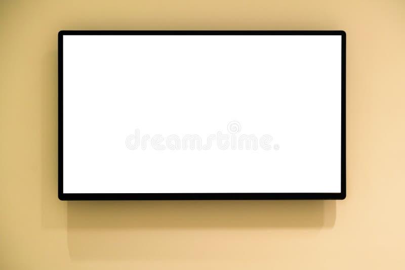 Nowożytny pusty wysoki definicji LCD płaskiego ekranu TV monitor, odizolowywa obraz stock