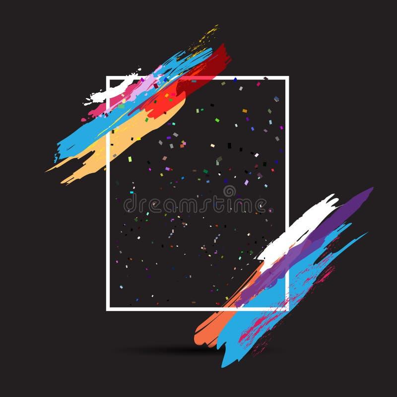 Nowożytny ramowy tło z grunge farby uderzeniami ilustracji