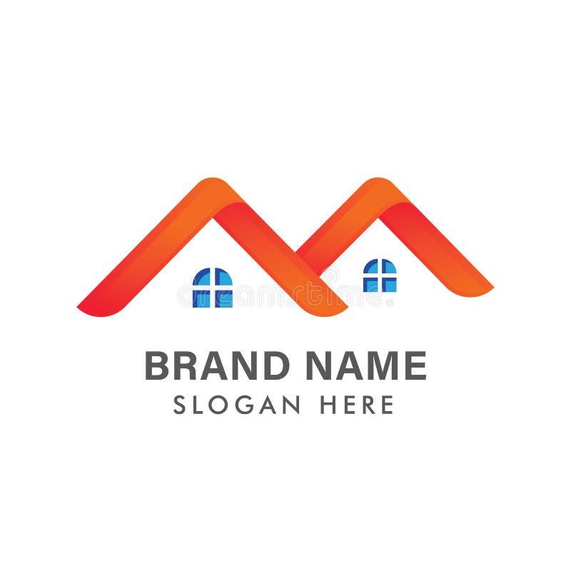 Nowo?ytny Real Estate logo projekt, Kreatywnie Domowy logo projekt, Abstrakcjonistyczny budynku logo projekt/ royalty ilustracja