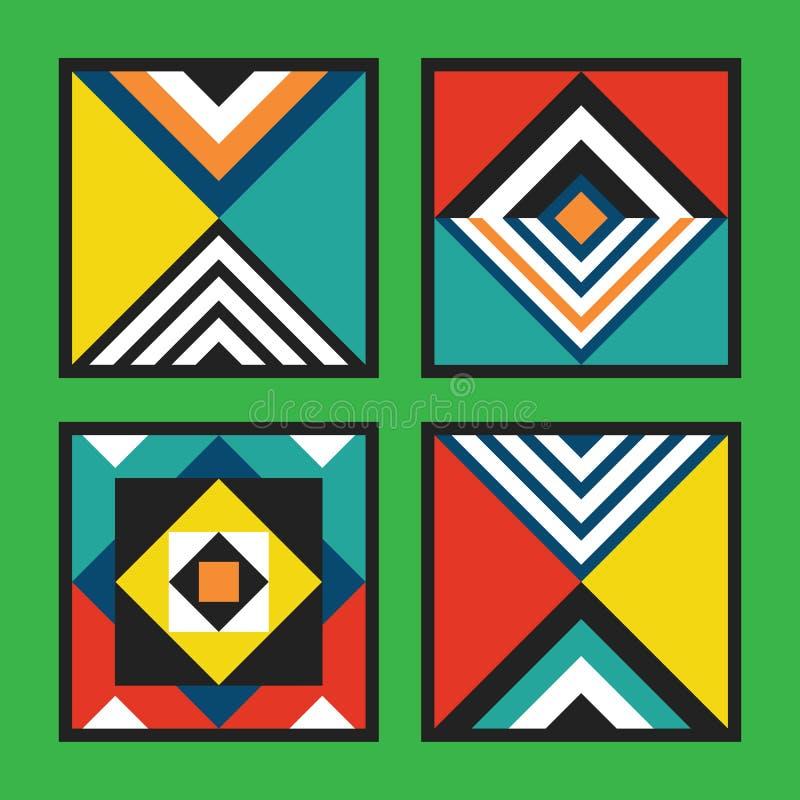 Nowożytny retro kolorowych i żywych kolorów płytek ram wzoru geometrical kwadratowy set na zieleni ilustracji