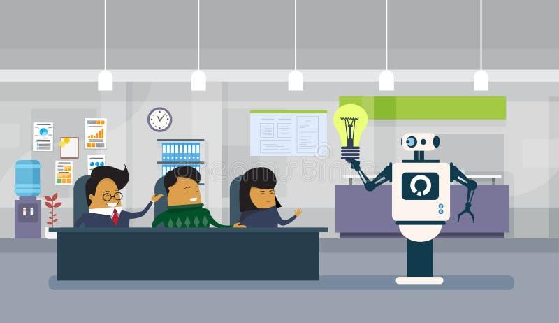 Nowożytny robot Daje żarówce grupa Brainstorming Nowych pomysły Azjatyccy ludzie biznesu Siedzi Przy Biurowym biurkiem ilustracji