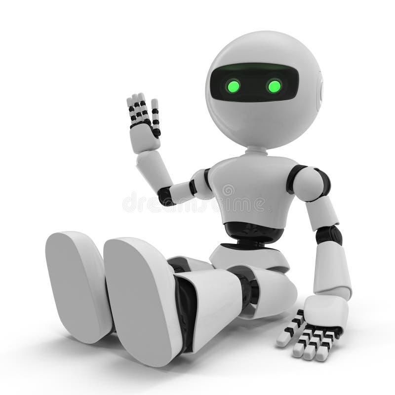 Nowożytny robot Odizolowywał 3D ilustrację Na Białym tle ilustracji