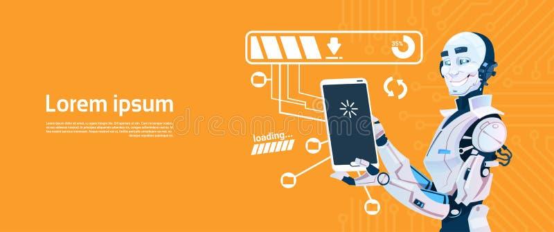 Nowożytny robot Używać komórka Mądrze telefon, Futurystyczna Sztucznej inteligenci mechanizmu technologia ilustracja wektor