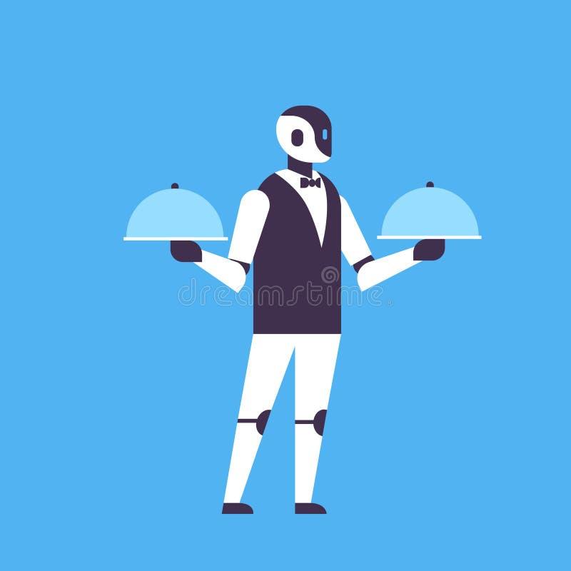 Nowożytny robota kelnera chwyt zakrywał półkowego pomagier larwy sztucznej inteligenci technologii pojęcia tła błękitnego mieszka royalty ilustracja