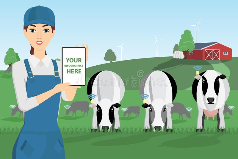 Nowożytny rolnik z cyfrową pastylką ilustracji