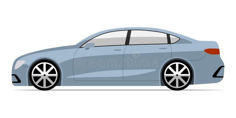 Nowożytny samochód w mieszkanie stylu Boczny widok odizolowywający na białym tle biznesowy sedan ilustracji