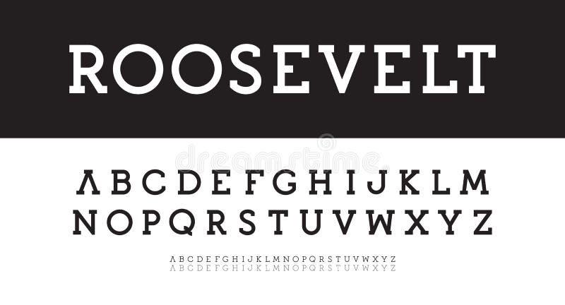 Nowożytny serif abecadło Śmiały, miarowy, cienki wektor typeset, Nowy klasyczny chrzcielnica szablon Geometryczni prości charakte royalty ilustracja