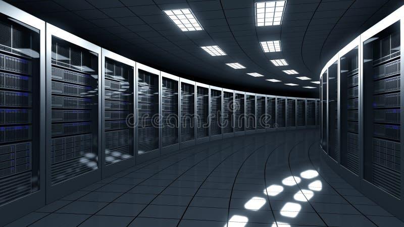 Nowożytny serweru pokój Technologie informacyjne ISP, obłoczne usługa, dane centrum lub duzi online biznesowi pojęcia, 3d ilustracji