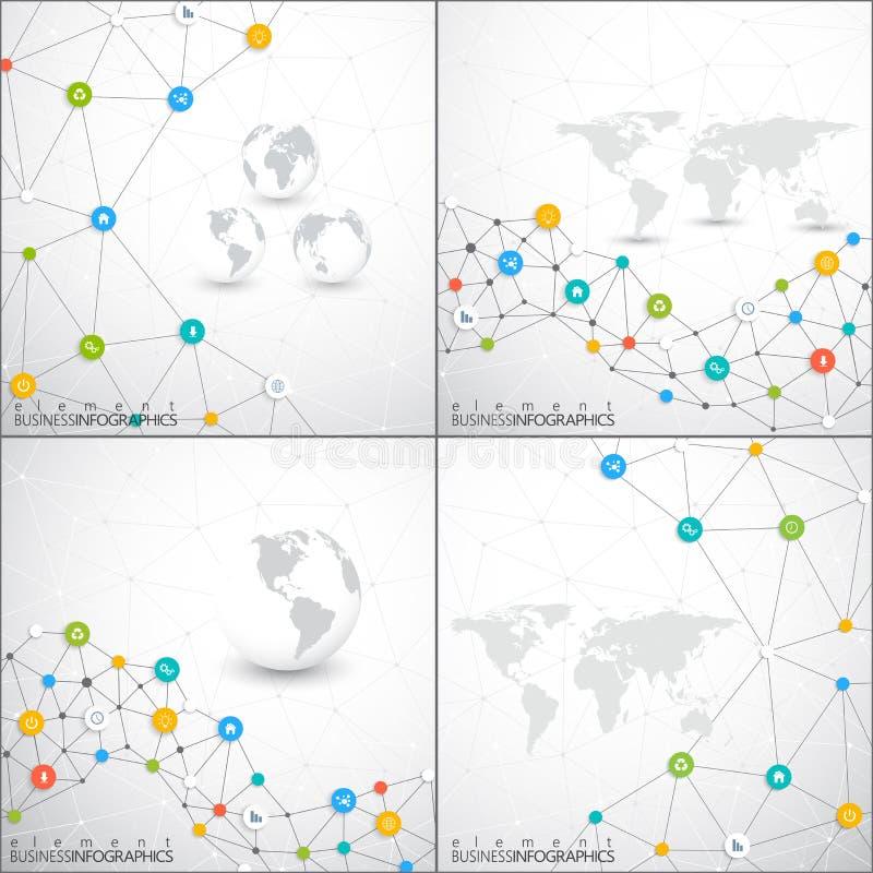 Nowożytny set infographic sieć wektoru szablon Może używać dla obieg układu, diagram, mapa, sieć projekt ilustracji