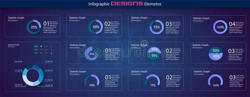 Nowożytny set okręgu odsetka diagramy Infographic diagrama wektoru interfejs Minimalistic infographic szablon ilustracji