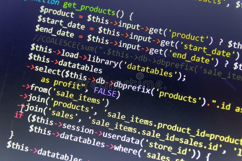 Nowożytny sieć rozwoju tło Abstrakcjonistyczni kawałki PHP kod zdjęcie royalty free