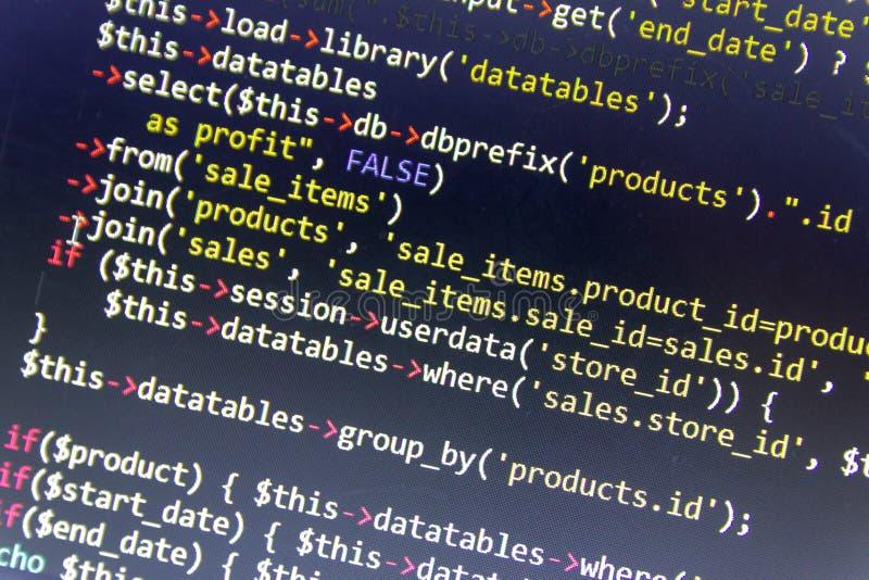 Nowożytny sieć rozwoju tło Abstrakcjonistyczni kawałki PHP kod zdjęcia stock