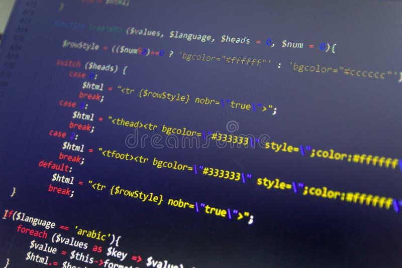 Nowożytny sieć rozwoju tło Abstrakcjonistyczni kawałki PHP kod obrazy royalty free