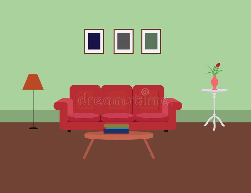 Nowożytny siedzący pokój z kanapy lampy strony stołu fotografii ramami royalty ilustracja