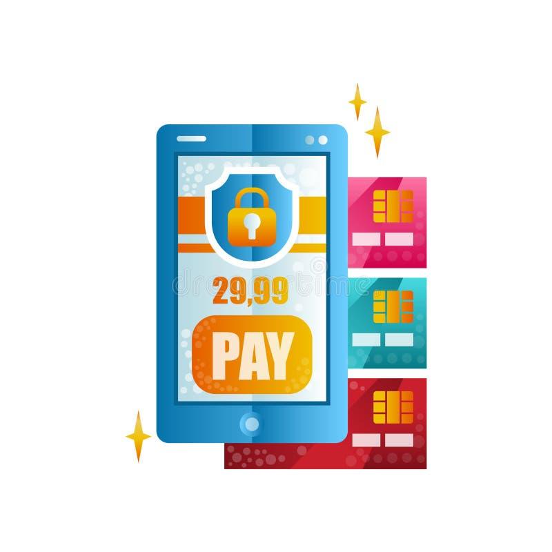 Nowożytny smartphone i kredytowe karty, bezprzewodowy przelew pieniędzy, mobilna zapłata, online bankowość, zakupy, e handel ilustracja wektor