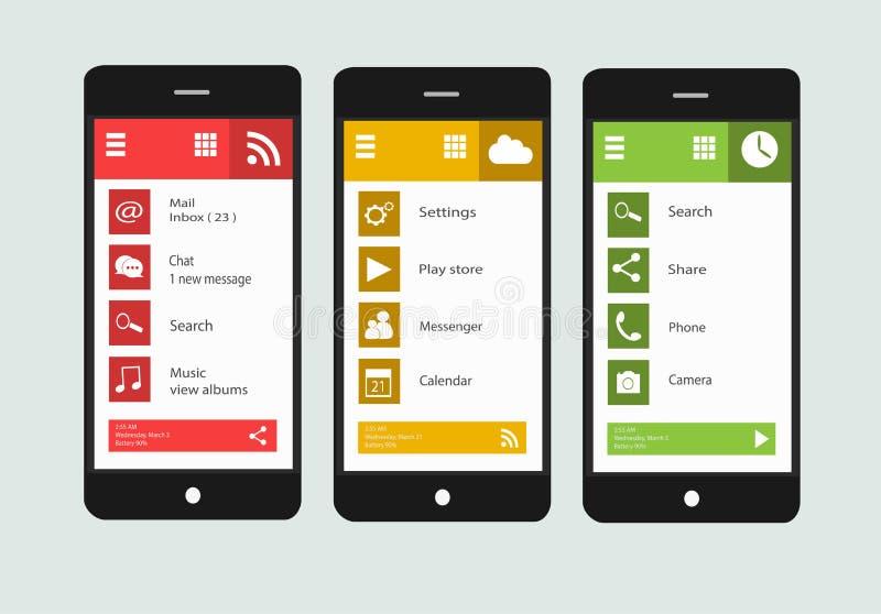 Nowożytny smartphone interfejs z płaskimi materialnymi projektów ekranami royalty ilustracja