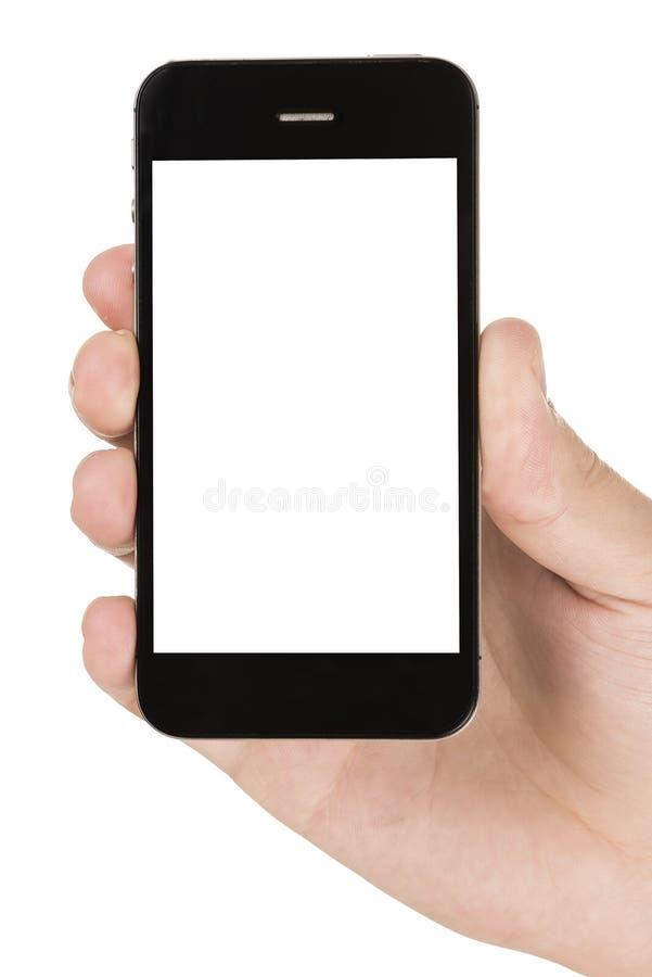 Nowożytny smartphone w ręce odizolowywającej na bielu fotografia stock