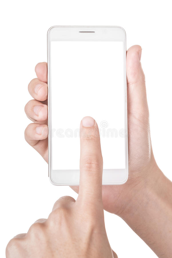 Nowożytny smartphone w ręce odizolowywającej na bielu zdjęcie stock