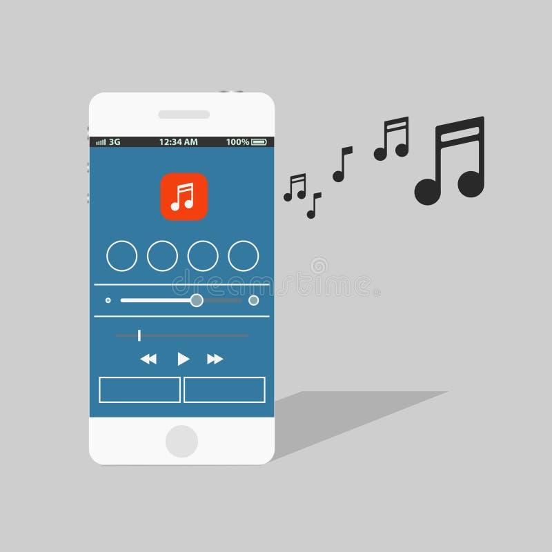 Nowożytny smartphone z odtwarzaczem muzycznym ilustracja wektor
