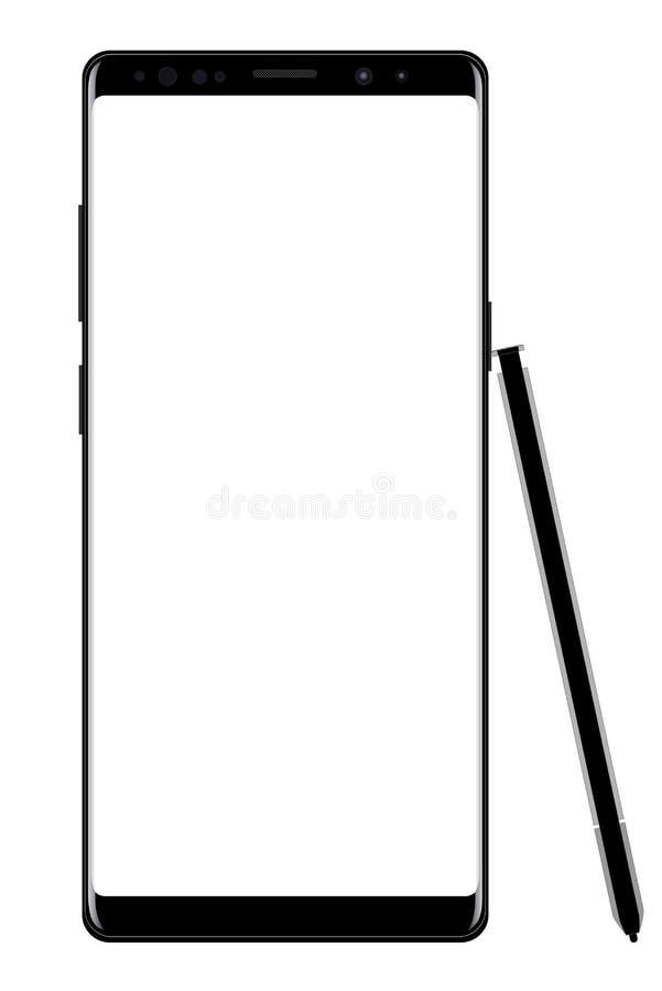 Nowożytny smartphone z pióro wektorem eps 10 royalty ilustracja