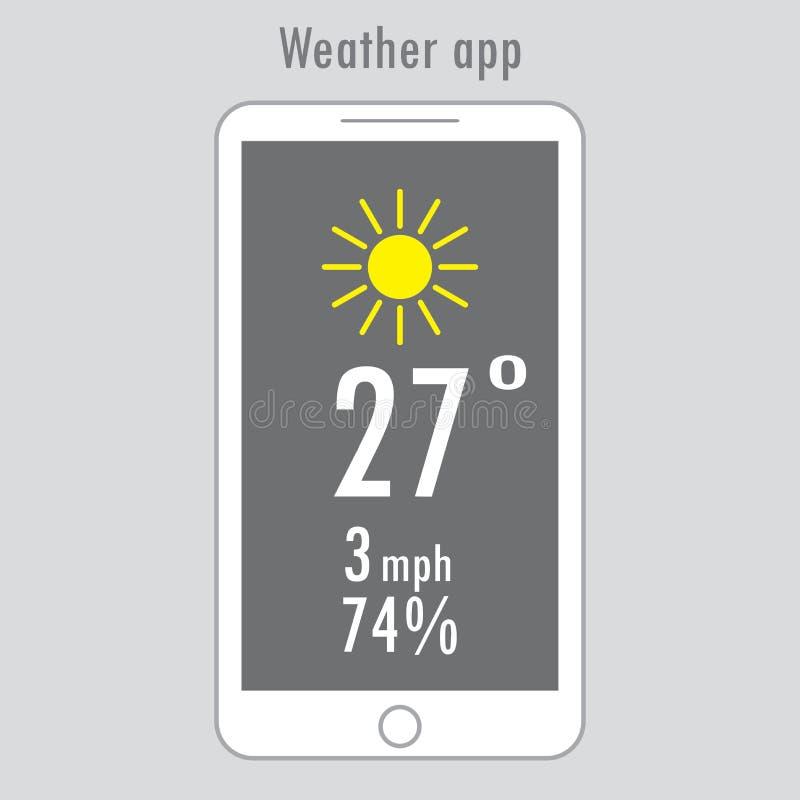Nowożytny smartphone z pogodą app na ekranie royalty ilustracja