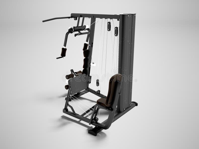 Nowożytny sporta symulant dla siły szkolenia zbroi i nogi 3d odpłacają się na szarym tle z cieniem ilustracja wektor