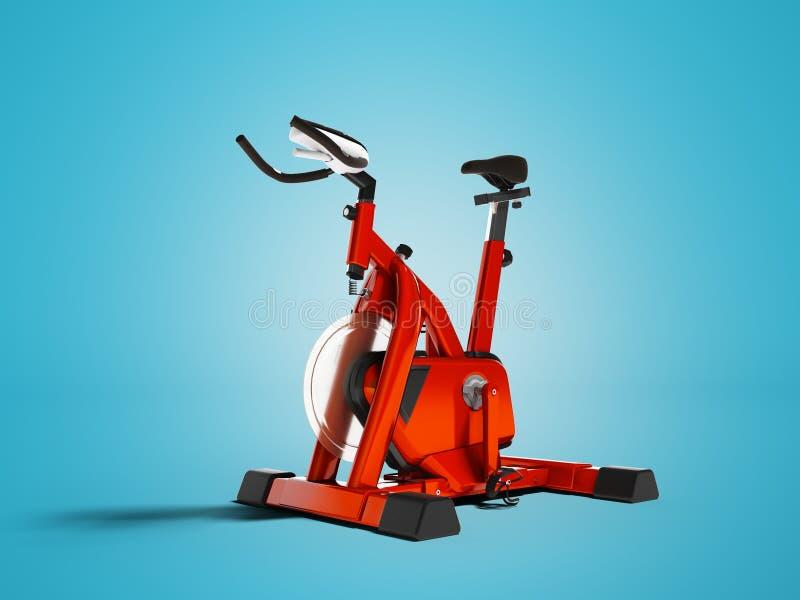 Nowożytny sporty czerwony trener dla siły szkolenia na bicyklu 3d odpłaca się na błękitnym tle z cieniem royalty ilustracja