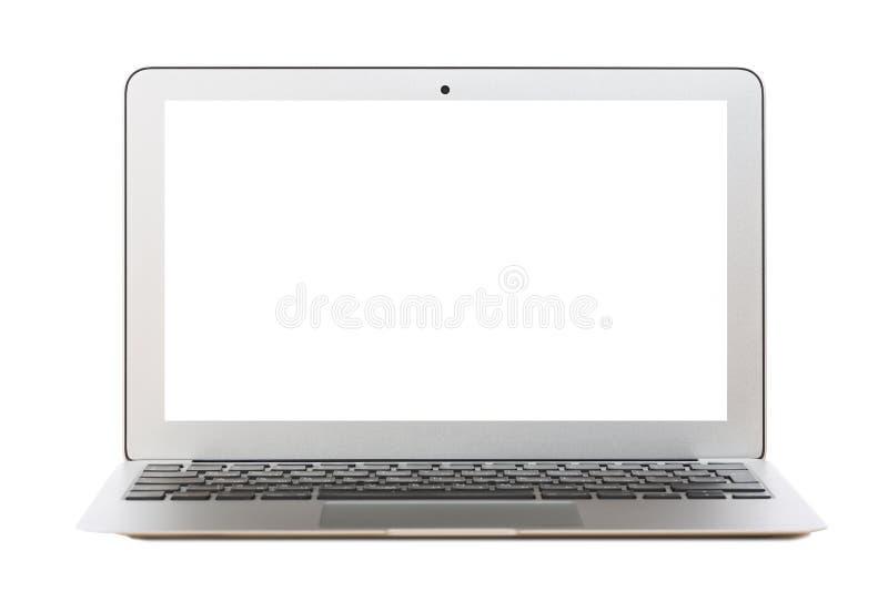 Nowożytny srebny laptop z pustym ekranem odizolowywającym na bielu fotografia stock