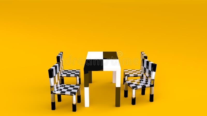 Nowożytny stołu i krzesła ustalony czerń - biel z żółtym tłem ilustracji