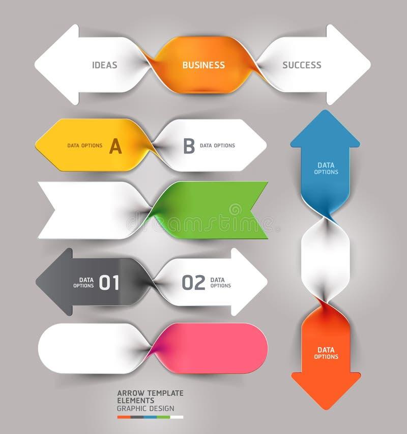 Nowożytny strzałkowaty biznes spirali infographics szablon. royalty ilustracja