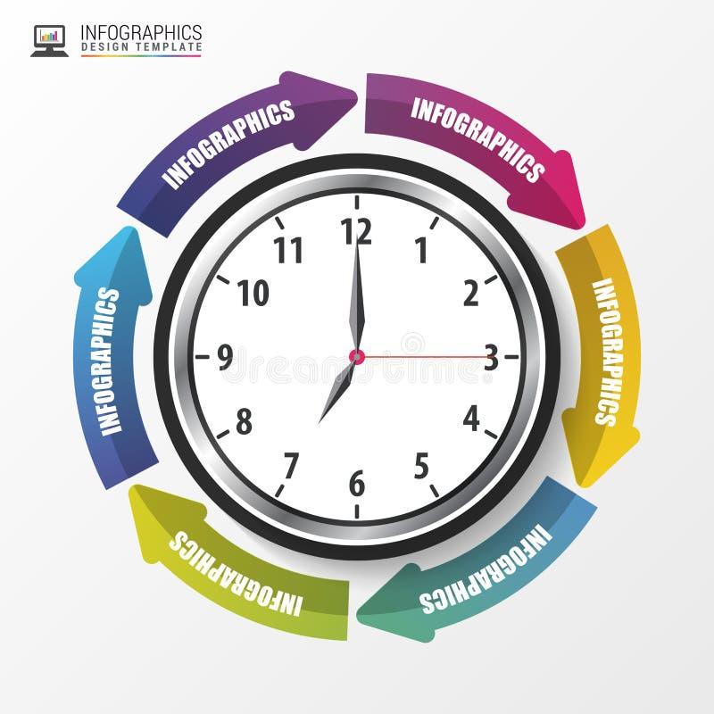 Nowożytny strzałkowaty praca czasu zarządzanie Infographics szablon wektor royalty ilustracja
