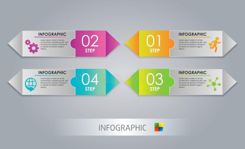 Nowożytny strzałkowaty projekta szablon, Kolorowy krok Abstrakt 3D cyfrowy Infographic Wektorowa ilustracja może używać dla obraz royalty free