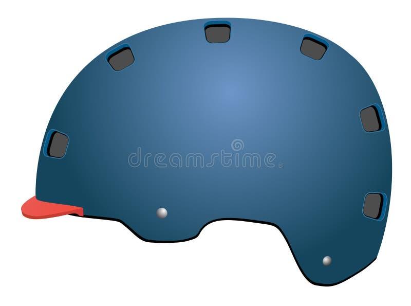 Nowożytny stylowy błękitny Rowerowy zbawczy kapelusz ilustracji
