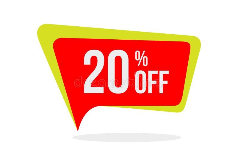 Nowożytny Stylowy sprzedaż rabat Oznacza wektor 20% Z Promocyjnego odznaka szablonu Płascy etykietka projekty ilustracja wektor