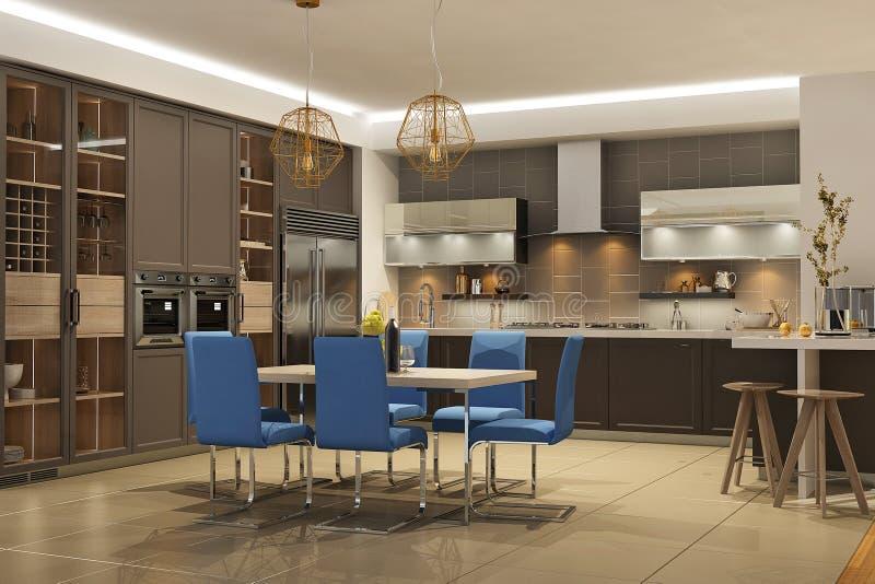 Nowożytny stylowy wnętrze żywy pokój z kuchnią w brązie barwi z błękitną kanapą ilustracja wektor