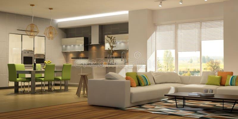 Nowożytny stylowy wnętrze żywy pokój z kuchnią w lekkich kolorach z zielonymi akcentami ilustracji