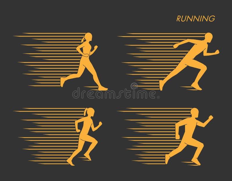 Nowożytny symbol dla bieg Złocisty ustawiający sylwetki biegacze ilustracji