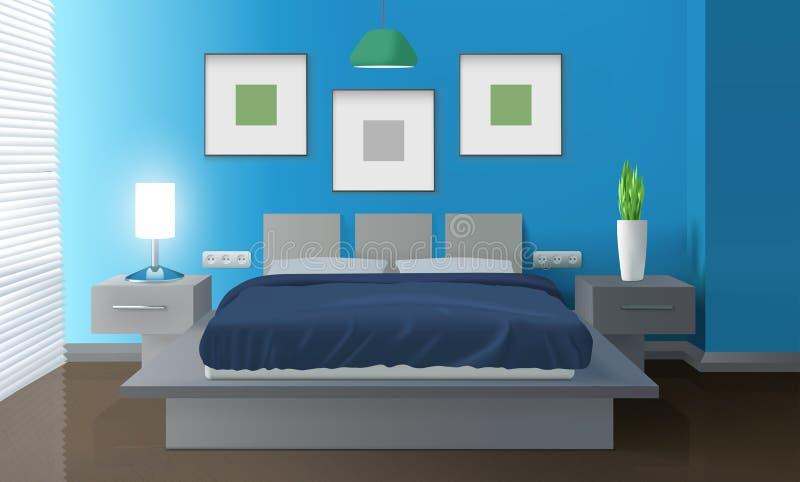 Nowożytny sypialni błękita wnętrze ilustracja wektor