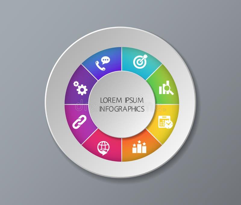 Nowożytny szablon dla biznesowego projekta lub prezentaci z okręgiem Wektorowy ilustracyjny infographic może używać dla sieci obrazy stock