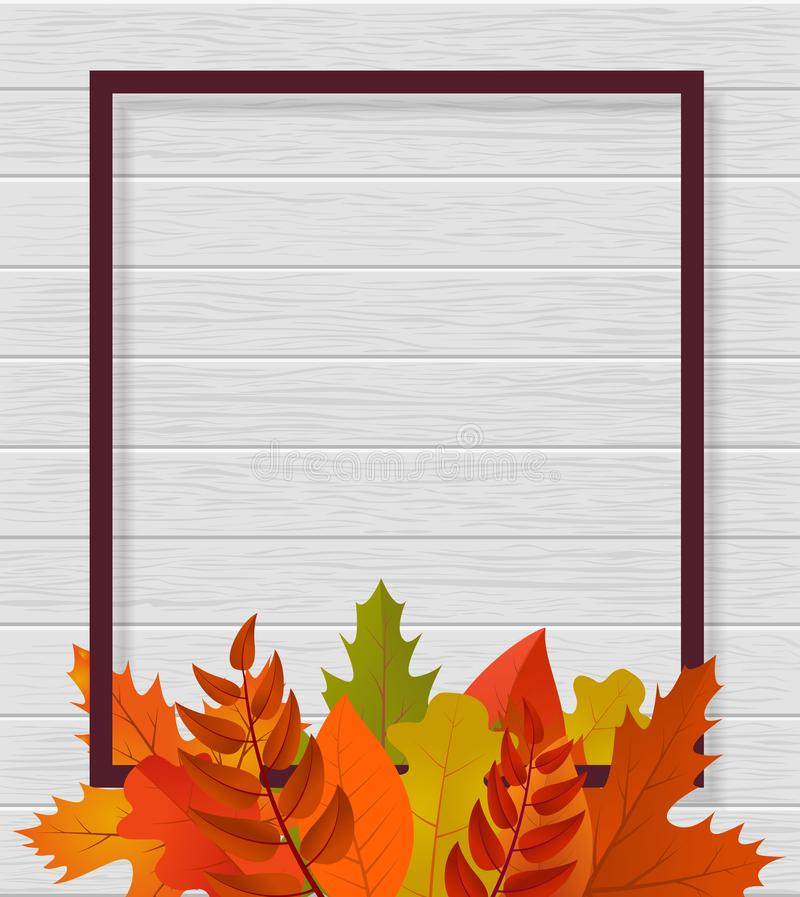 Nowożytny szablonu tło dla strony internetowej z ramą, liśćmi i drewnem, Szablon etykietka Projekt dla ogólnospołecznych środków, royalty ilustracja