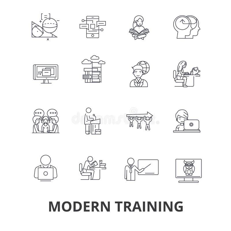 Nowożytny szkolenie, biznesowy uczenie, online kurs, wideo szkoła, edukacj kreskowe ikony Editable uderzenia Płaski projekt ilustracja wektor