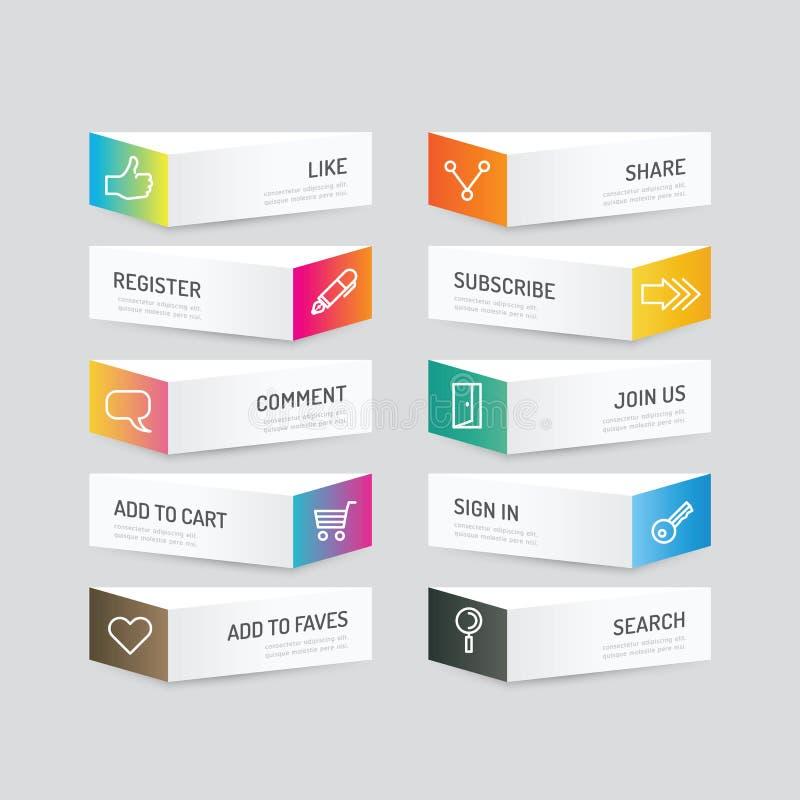 Nowożytny sztandaru guzik z ogólnospołecznymi ikona projekta opcjami Wektorowa bolączka ilustracja wektor