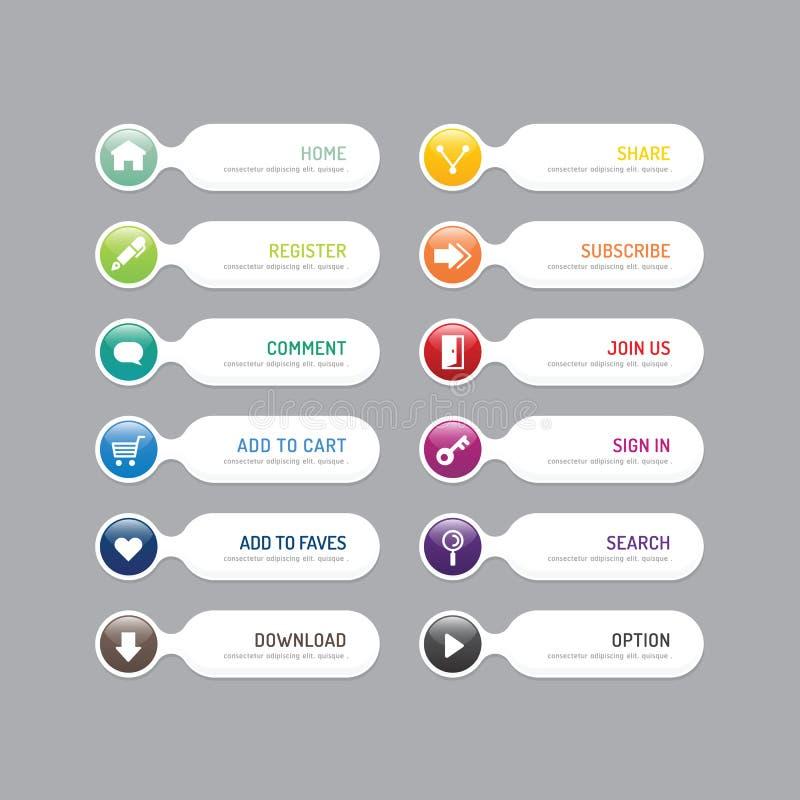 Nowożytny sztandaru guzik z ogólnospołecznymi ikona projekta opcjami Wektorowa bolączka royalty ilustracja