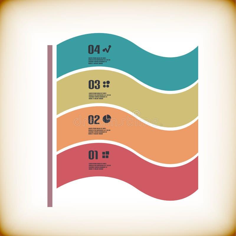 Nowożytny tasiemkowy infographic szablon ilustracji