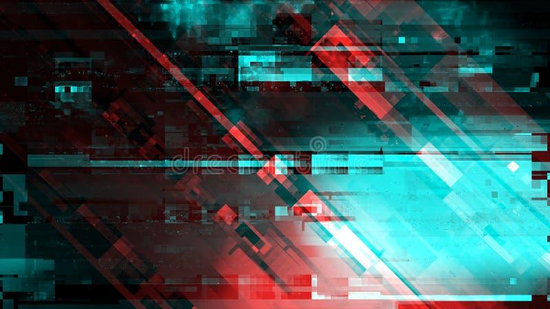 Nowożytny technologii tło, cyber abstrakcjonistyczna cyfrowa usterka ilustracja wektor