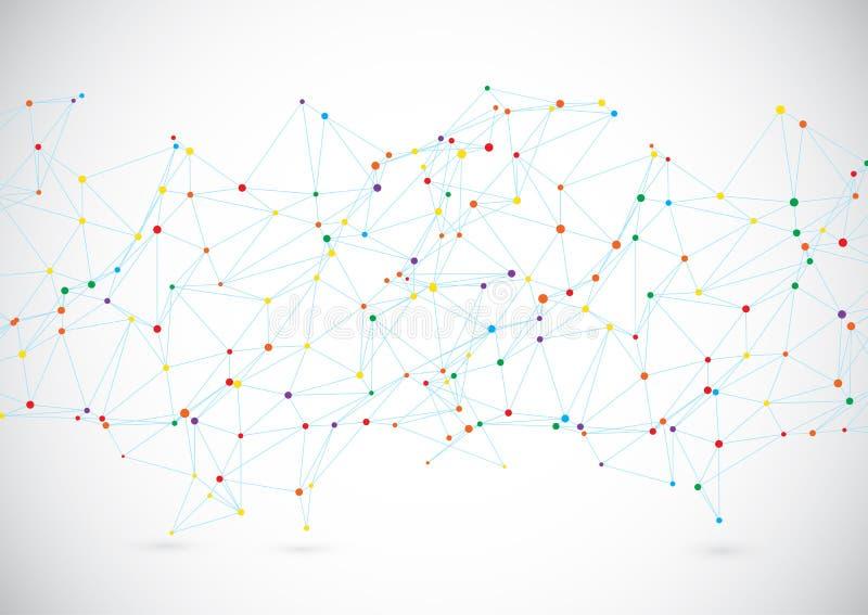 Nowożytny technologii tło z złączonymi liniami i kropkami royalty ilustracja