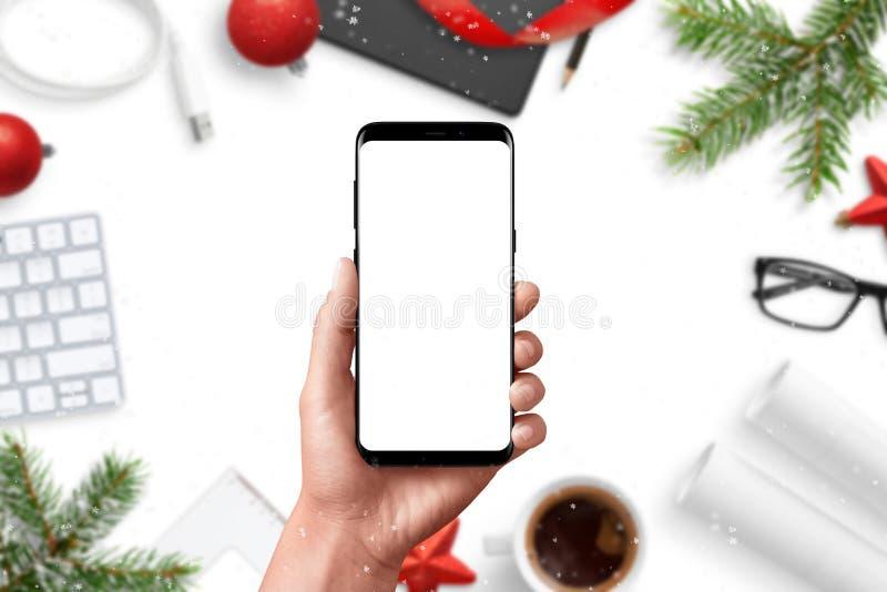 Nowożytny telefonu mockup ręki mienia telefon mądrze fotografia stock